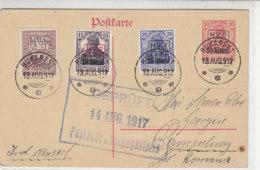 RUMÄNIEN - Zensur-GS Mit Einigen Briefmarken Aus BUKAREST 13.8.17 Rückseite Leer - Bezetting 1914-18