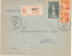 Lettre Recommandée Vabre Tarn 1938 - Poststempel (Briefe)