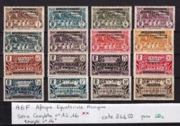 AEF Afrique Equatoriale Française Série Complète N°1 à 16 Neuf** Excepté 16* Cote 246,50€ - A.E.F. (1936-1958)