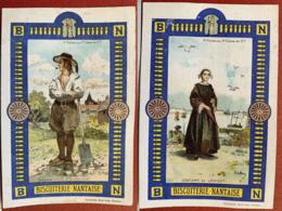 BISCUITERIE NANTAISE BN BISCUITS CHROMO 1880's IMAGE A. DE BROCA BRETAGNE COSTUME BRETON LORIENT PAYSAN VANNES PELLETRAU - Süsswaren