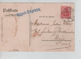 CBPN43/ PK Wildbad C.Pforzheim 1905 + Orient-Express Stempel > Paris France - Lettres & Documents