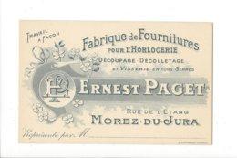 24021 - Horlogerie Morez-du-Jura Fabrique De Fournitures Pour L'horlogerie Ernest Paget - Cartoncini Da Visita