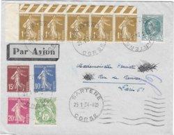 Lettre De Sartène Corse 1934 Semeuse Bloc De 5 - Postmark Collection (Covers)