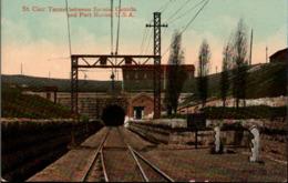 ! Alte Ansichtskarte St. Clair Tunnel Between Sarnial Canada, Port Huron, USA - Treinen