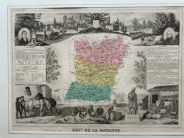 Département De La Mayenne / Gravure Authentique XIXéme De Levasseur / Volney, Ambroise Paré - Carte Geographique