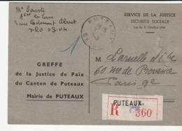 Carte Recommandée Mairie De Puteaux Pour Paris , 1948 - Frankreich