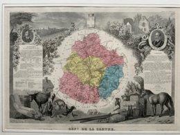 Département De La SARTHE / Gravure Authentique XIXéme De Levasseur / Du Bellay, De Brissac - Carte Geographique