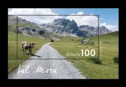Switzerland 2019 Mih. 2637 (Bl.73) Val Mora Valley. Fauna. Cow. Mountains MNH ** - Switzerland