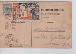 CBPN44/ Belgique-België TP 81 S/CP Charleroi Exposition 1911 C.Charleroi 1911 + Flamme Expo & Vignette De L'Expo > Liège - Erinnofilia