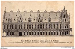 BELGIQUE  Plan Du Palais Destiné Au Grand Conseil De MALINES.  Carte écrite En 1908. 2 Scans - Malines