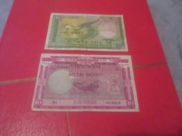 2 Billets De Banque Banknote  France Colonie VIETNAM Originaux No Copies - Andere
