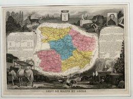 Département Du Maine Et Loire / Gravure Authentique XIXéme De Levasseur / - Carte Geographique