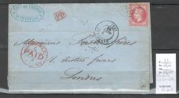 Lettre De Marseille Pour Londres - Grande Bretagne - 1869 - Double Port - Yvert 32 Seul Sur Lettre - Postmark Collection (Covers)