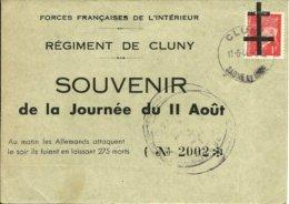 Sur C.P.Souvenir Cachet De CLUNY Sur 1Fr Pétain - 1944 - - Libération