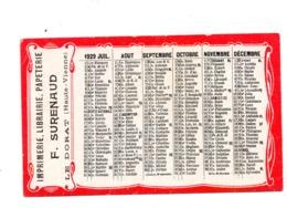 Le Dorat 87  Calendrier 1929 Papeterie Surenaud - Calendriers