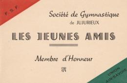 """JUJURIEUX (Ain) - Pochette Membre D'Honneur De La Société De Gymnastique - """"Les Jeunes Amis"""" - - Vieux Papiers"""