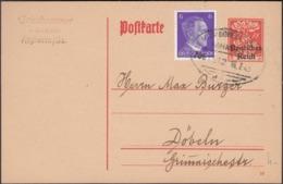 Germany - Mi. 785 Auf GA - Postkarte (1920) MiNr. P124. Rosswein, Bahnpost Stempel, Leipzig - Döbeln - Dresden 16.7.1943 - Interi Postali