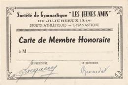 """JUJURIEUX (Ain) - Carte De Membre Honoraire De La Société De Gymnastique - """"Les Jeunes Amis"""" - - Vieux Papiers"""