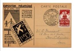 1 ERE EXPO PHILATELIQUE DE COLOMBES 1946 - Commemorative Postmarks