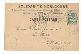 24023 - Horlogerie Biel Bienne Solidarité Horlogère Fédérations Et Syndicats Horlogers Pour Travers 13.08.1902 - BE Berne