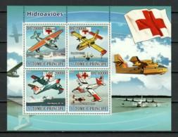 Sao Tome E Principe 2008 Kleinbogen Mi 3748-3751 MNH RED CROSS WATER PLANES - Aviones