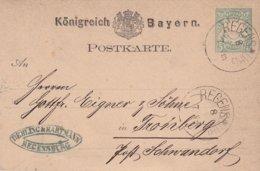 BAYERN 1878      ENTIER POSTAL/GANZSACHE/POSTAL STATIONERY CARTE DE REGENSBURG - Bavière