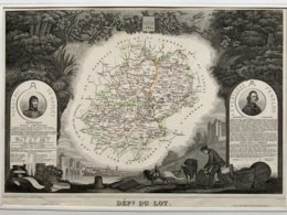 Département Du LOT  / Gravure Authentique XIXéme De Levasseur / Médaillon Murat, Fenelon - Carte Geographique
