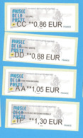 4 Vignette Lisa Salon Automne Paris Atm Frama Cinderella Label CC DD AA IP 2019 MUSEE POSTE FACTEUR BICYCLETTE VELO - 2010-... Geïllustreerde Frankeervignetten