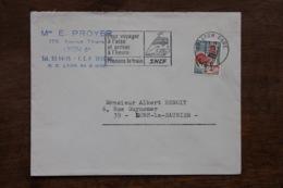 Enveloppe Affranchie Coq Oblitération Flamme Pour Voyager à L'aise Et Arriver à L'heure Prenons Le Train Lyon Gare 1967 - Postmark Collection (Covers)