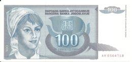YOUGOSLAVIE 100 DINARA 1992 UNC P 112 - Joegoslavië
