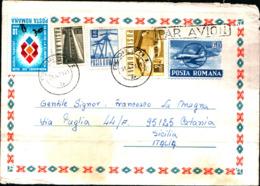 8805) Romania Biglietto Postale Da 60 B.+2l+40b+20b. Ordinaria+10b. Da Prahova A Catania Il 13-4-1971 - Cartas