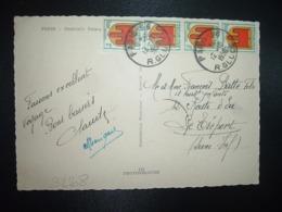 CP TP BLASON AUVERGNE 2F Bande De 4 OBL.12-10 1950 PARIS 96 - 1941-66 Wapenschilden