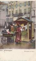 PARIS PITTORESQUE MARCHANDE DE FLEURS  EDITION KUNZLI COLORISEE - Petits Métiers à Paris