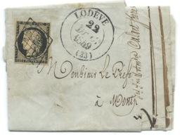 N° 3 CERES 20c NOIR SUR PARTIE DE LETTRE / LODEVE HERAULT POUR MONTPELLIER / 22 DEC 1849 - 1849-1876: Période Classique