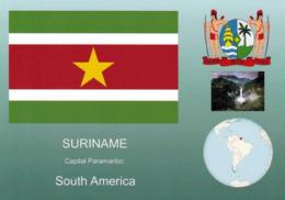 1 AK Surinam * Die Flagge, Das Wappen, Die Position Von Surinam In Südamerika Und Eine Ansicht Von Surinam * - Suriname