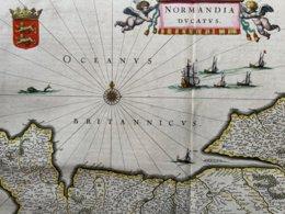Normandie / Carte Géographique Ancienne Authentique De Willem Blaeu Publiée En 1650 / Normandia Dvcatvs - Carte Geographique