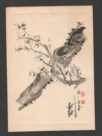 Vietnam - Aquarelle à L'encre De Chine Sur Carton -  Oiseau Stylisé - Perroquet Sur Branche De Cerisier En Fleur - Arte Asiatica