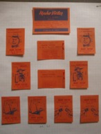Rare Tintin Kuifje Hergé Lot 11 Etiquettes Allumettes MAHO Victor Collections Points Tintin - Bruxelles Rollebeek Match - Zündholzschachteletiketten