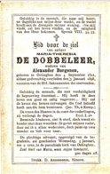 DOODSPRENTJE MARIA THERESIA DE DOBBELEER ° OETINGHEN 1812 + 1898 WEDUWE BORGENON OETINGEN - Images Religieuses