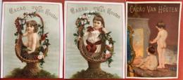 VAN HOUTEN 3 CHROMOS ENFANTS PANIER FLEURS ENFANT NU CHEMINÉE CHOCOLAT CACAO ETIQUETTE 1880 IMAGE PUBLICITÉ - Van Houten