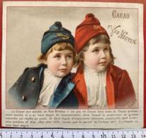 VAN HOUTEN CHROMO ENFANTS MARINS MARINE TRICOLORE BLEU BLANC ROUGE CHOCOLAT CACAO ETIQUETTE 1880 IMAGE PUBLICITÉ - Van Houten