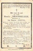 DOODSPRENTJE ROSALIE  DEDOBBELEER ° OETINGHEN 1823 + 1902  ECHTG COSYNS  OETINGEN - Images Religieuses