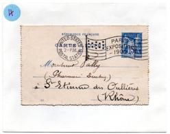 PARIS / EXPOSITION 1900 =  FLAMME DRAPEAU Avec ETOILES / UNITED STATES / POSTAL STATION Sur LETTRE - Poststempel (Briefe)