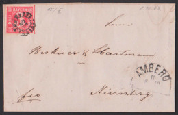 AMBERG 8.10.1863 Bayern Faltbrief Mit Text Mühlradstempel 15 U. Halbkreisst., 3 Kreuzer Vollrandig Nach Nürnberg - Bayern
