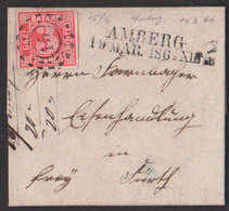 AMBERG 19.3.1866 Bayern Faltbrief Mit Text Mühlradstempel 15 U. L2., 3 Kreuzer Vollrandig Nach Fürth - Bavière