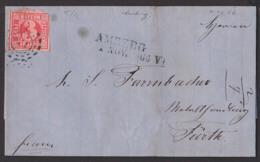 AMBERG 1.11.1866 Bayern Faltbrief Mit Text Mühlradstempel 15 U. L2., 3 Kreuzer Nach Fürth - Bavière