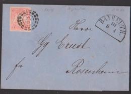 BAYREUTH 8.4.1867 Bayern Blauer Faltbrief Mit Text Mühlradstempel 37, 3 Kreuzer Vollrandig Nach Rosenheim - Bayern