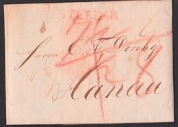 AMSTERDAM 13. August 1816, Faltbrief  Nach Hanau, Roter L1 - Holanda