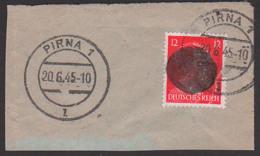 Pirna Sächsiche Schwärzung Briefstück 20.6.45 Marke Beschädigt - Soviet Zone