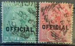JAMAICA 1890/91 - Canceled - Sc# O2, O3 - Officials 1/2p 1p - Jamaïque (...-1961)